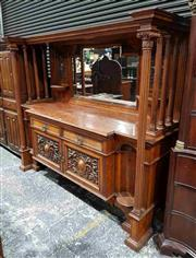 Sale 8976 - Lot 1076 - Impressive Edwardian Oak & Pollard Sideboard, the carved mirror back with shelves and flanked by turned columns, above two drawers &...