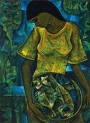 Sale 9001 - Lot 501 - Roger San Miguel (1940 - ) - Woman Carrying Fish 57.5 x 42 cm (frame: 70 x 55 x 4 cm)