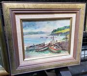 Sale 9019 - Lot 2032 - Eddie Salo, Dockside, Brisbane, oil on board, frame: 34 x 49 cm, signed lower right,