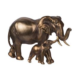 Sale 9140F - Lot 81 - A detailed, lightweight polyresin elephant statue featuring a mom and baby elephant. Dimensions: W30.5 x D13.5 x H17.5 cm
