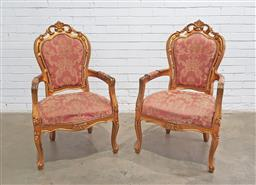 Sale 9137 - Lot 1086 - Pair of French style gilt armchairs (h103 x w61 x d52cm)