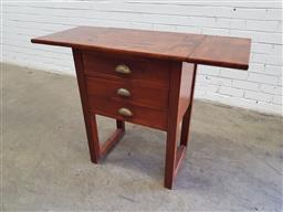 Sale 9142 - Lot 1040 - Late 19th/ Early 20th Century Cedar Printers Table, with drop-leaves, three drawers & square legs with stretchers for bolting down...