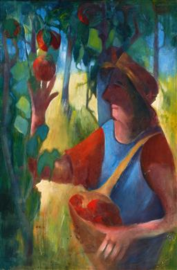 Sale 9212A - Lot 5069 - STAN LANE Fruit Pickers oil on board 90 x 59.5 cm (frame: 105 x 75 x 4 cm) signed lwoer right, inscribed and titled verso