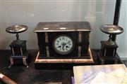 Sale 8304 - Lot 72 - French Black Slate Clock Garniture (AF)