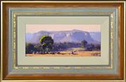 Sale 8382 - Lot 597 - John Wilson (1930 - ) - Afternoon Countryscape with Grazing Cattle 13.5 x 30.5cm