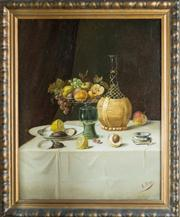 Sale 8470H - Lot 10 - E. Degu - Still Life Table Top 51 x 41cm