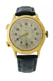 Sale 8522A - Lot 48 - An early Swiss made two button chronograph wristwatch, circa 1950s, in gold plated case, tachymeter dial, 37.6 mm, hand winding, fu...