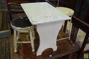 Sale 8542 - Lot 1090 - Two Timber Stools and Side Table