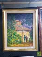 Sale 8552 - Lot 2010 - Pamela Carter - Cocktails at the Hyatt, Brisbane, 1991 49 x 38.5cm