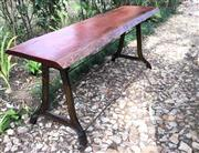 Sale 8600A - Lot 55 - An industrial cast iron leg table with hardwood timber slab top, H 87 x W 60 x L 218cm.