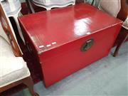 Sale 8672 - Lot 1098 - Red Lacquered Oriental Chest with Brass Fittings