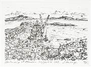 Sale 8773A - Lot 5003 - Jan Senbergs (1939 - ) - Unloading at Mawson, Voyage Fix, 1987 15 x 22.5cm