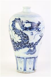 Sale 8802 - Lot 65 - Chinese b/w Meiping vase, dragon design, H; 35cm