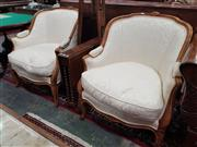 Sale 8831 - Lot 1077 - Pair of French Carved Beech Tub Chairs