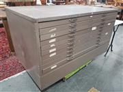 Sale 8959 - Lot 1059 - Metal Map Chest with Ten Drawers (H: 78, W: 146, D: 95cm)