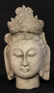 Sale 9015G - Lot 40 - Antique Carved Marble Chinese Temple Guan Yin  Head Sculpture ,General Wear .Some Chipping/Cracking .Size 40Cm