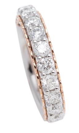Sale 9123J - Lot 36 - A 14CT WHITE GOLD HALF HOOP DIAMOND RING; set in line on a rose gold plated gallery with 11 round brilliant cut lab grown diamonds t...