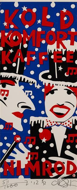 Sale 9157S - Lot 5004 - MARTIN SHARP (1942 - 2013) Kold Kamfert Kaffee (Nimrod Series) screenprint ed. 511/1000 (unframed) 102 x 44 cm signed in print