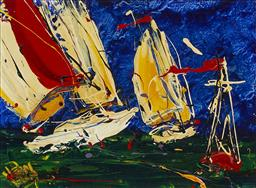 Sale 9154JM - Lot 5041 - DEAN VELLA (1958 - ) Sailing Yachts oil and acrylic on board 29 x 39 cm (frame: 49 x 59 x 3 cm) signed lower left