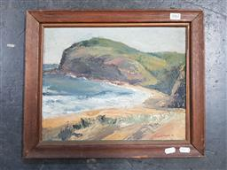 Sale 9155 - Lot 2062 - June Williams Cliffs Overlooking a Bay, 1948, oil on board, frame: 36 x 43 cm, signed and dated lower right -
