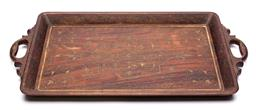 Sale 9170H - Lot 21 - A carved rosewood Anglo-Indian twin handled tray, Width 67cm