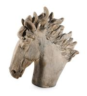 Sale 8422A - Lot 86 - A large cast stone horse head garden finial, height 57cm, some wear commensurate with age