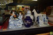 Sale 8509 - Lot 2265 - Collection of Sundries incl. Vases, Horse Figure & Other Figures, Tribal Wares, Limoges Bowl, Oriental Scroll, Platedwares, etc