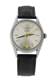 Sale 8522A - Lot 50 - A vintage Longines 3 star wristwatch, circa 1957, stainless steel, hand winding, 34 mm, refinished dial, excellent condition, in wor...