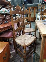 Sale 8601 - Lot 1376 - Three Beech & Rush Seat Highback Chairs
