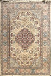Sale 8868 - Lot 1007 - Persian Nain Wool Carpet with Silk Inlay, having floral clusters to the field and border in blue, red and beige tones (310 x 217cm)