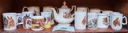 Sale 9103M - Lot 495 - A collection of equestrian related ceramics including Sadlers, together with a glass ashtray.