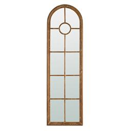 Sale 9140F - Lot 83 - Arched Window panelled Mirror. Solid fir wood frame finished in a highly distressed whitewash for rustic coastal style. Dimensions: ...