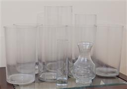 Sale 9155H - Lot 62 - A collection of cylindrical glass vases Tallest Height 35cm