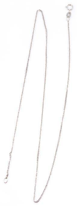 Sale 9160 - Lot 319 - AN 18CT WHITE GOLD CHAIN; 0.50mm wide foxtail link chain to bolt ring clasp, length 40cm, wt. 1.56g.