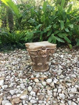 Sale 9175G - Lot 21 - Carved Genuine Stone Column Capital Top .General Wear , slight Chipping ,Natural Stone Vein Line .Marks .Slight Chipping. Size 35cm H