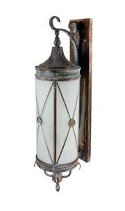 Sale 8422A - Lot 88 - A vintage French Art deco style copper/brass and iron wall lantern, some rust at screw points, height 70 cm
