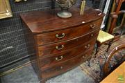 Sale 8500 - Lot 1062 - Regency Mahogany Bow Front Chest of Four Drawers with String Inlay and Bracket Feet