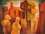 Sale 8549 - Lot 522 - Bill Coleman (1922 - 1993) - Figures in street 29.5 x 39.5cm
