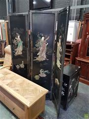 Sale 8585 - Lot 1707 - Four Panel Screen (183 x 180cm) With Chinese 2 Door Cabinet (78 x 56.5 x 27cm)