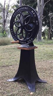 Sale 8600A - Lot 56 - Antique cast iron enterprise coffee grinder on stand, H 109 x D 49cm.