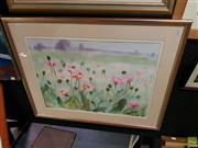 Sale 8627 - Lot 2061 - Julie King Garden Flowers watercolour, 76.5 x 95cm (frame size), signed lower right