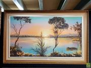 Sale 8659 - Lot 2050 - M.Krynda - Eucumbene Lake, Snowy Mountains, large oil on canvas, SLR