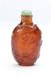 Sale 8667 - Lot 90 - Chinese Carved Ruby Glass Snuff Bottle