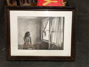 Sale 8682 - Lot 2087 - Richard Dunlop - Woman Watching Curtain 65 x 85.5cm (frame size)