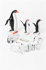 Sale 8747 - Lot 36 - A Small Baccarat Crystal Anchor in Box Together with An Orrefors Bowl and Coloured Glass Penguins