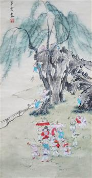 Sale 8738A - Lot 5050 - Chinese School (Quing Dynasty) - Children At Play, c1900 78 x 39.5cm (image)