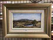 Sale 8779 - Lot 2026 - Lukunic - Sheep may safely graze, oil on canvas, frame size: 25.5 x 34.5cm, signed lower right