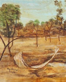 Sale 9070H - Lot 101 - Ray Crooke (1922 - 2015) - North Queensland Landscape 50 x 39.5 cm (frame: 73 x 63 x 5 cm)
