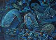 Sale 9001 - Lot 511 - Roger San Miguel (1940 - ) - Fruit Pickers 43 x 57.5 cm (frame: 53 x 69 x 3 cm)