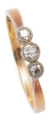 Sale 9037 - Lot 366 - AN ANTIQUE 18CT GOLD DIAMOND RING; millegrain set with 3 Old European cut diamonds totalling approx. 0.12ct, size O, wt. 1.92g. in box.